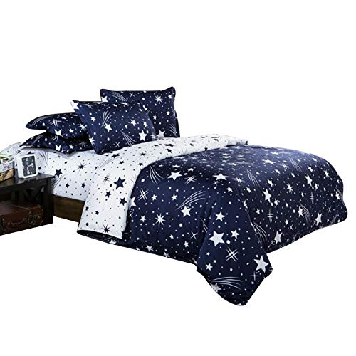 ZHH Star Duvet Cover Set, Galaxy Printing Bedding Set Space Theme Kids Bedding Set, Soft Bedding, 1 Duvet Cover & 2 Pillowcases, King Size
