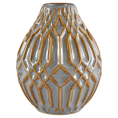 Stone & Beam Modern Ceramic Vase With Geometric Pattern, 4.4'H, Brown