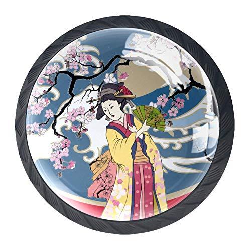 TIZORAX Schubladenknöpfe, traditionelle japanische Wellen, Frauen in Kimono mit Kirschbaum, rund, für Küchenschrank, Schrank, Kommode, Tür, Heimdekoration, 4 Stück