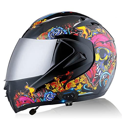 Casco Modular De La Moto De La Cara Completa Flip Up Casco Bluetooth De La Motocicleta Frontal Casco De Cuatro Temporadas Con Doble Sol Solar Para La Calle Bike Racing Motoc(Size:L(59-60CM),Color:mi)