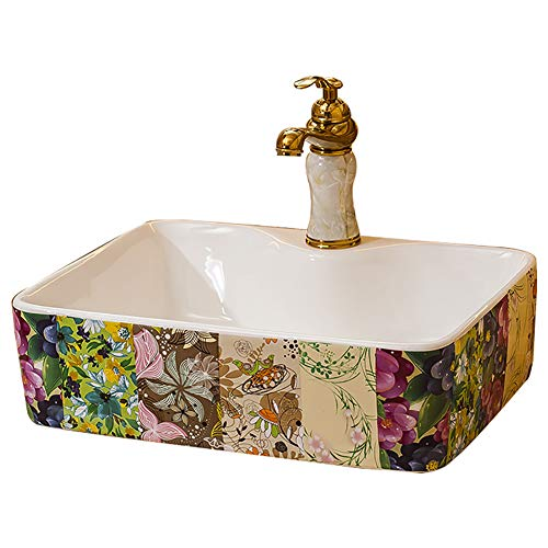 Patroon Keramische wastafel Container Art Basin Water Kraan Set Badkamer 48 * 37 * 13Cm