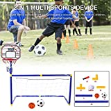 Rikey Soccer Goal Pool with Basketball Hoop Set for Kids 2 in 1 Outdoor Sports Basketball Stand Soccer Goal