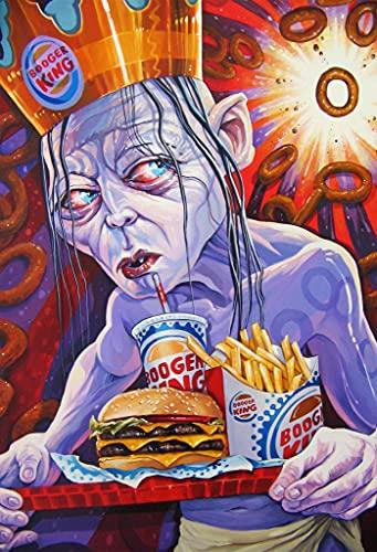 Kit De Pintura Digital Diy Para Adultos Y Niños 'Burger King' Con Pincel Y Pintura Acrílica, Decoración De Pared Familiar 40X50Cm (Sin Marco)