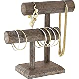 Bright Creations Rustic Wood 2 Tier Jewelry Holder T Bar Display