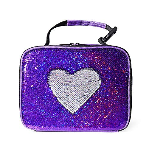 Girls Sequin Lunch Box Kids Insulated Thermal Lunch Tote Bag Durable Flip Glitter Sequins Lunchbox for School Travel and Work