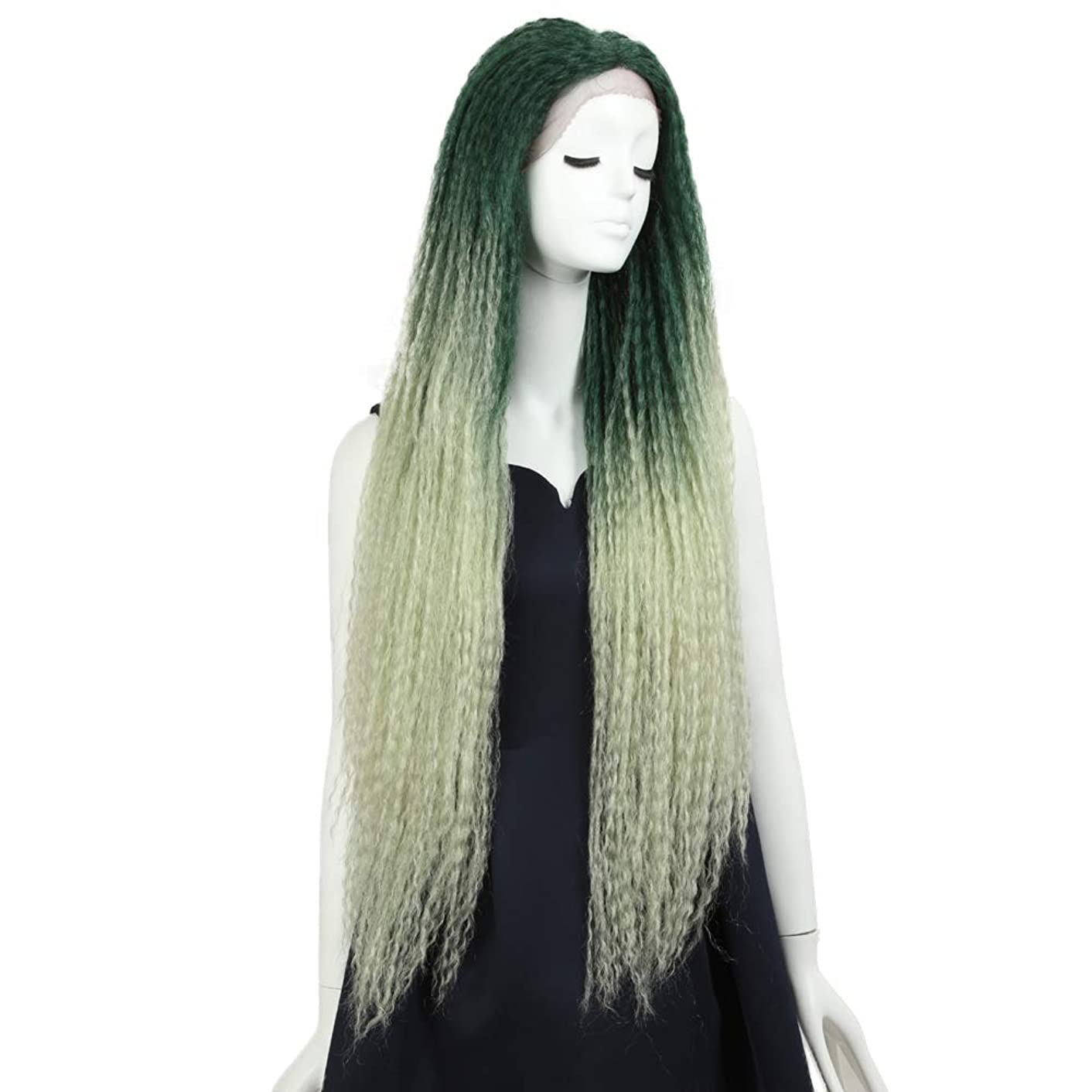 NOBLE MAXIN Dreadlock Hair Wig Long Dreadlock Braid Wig 38inches Lace Front Dreadlock Wig for Black Women (38inches, TT GREEN)