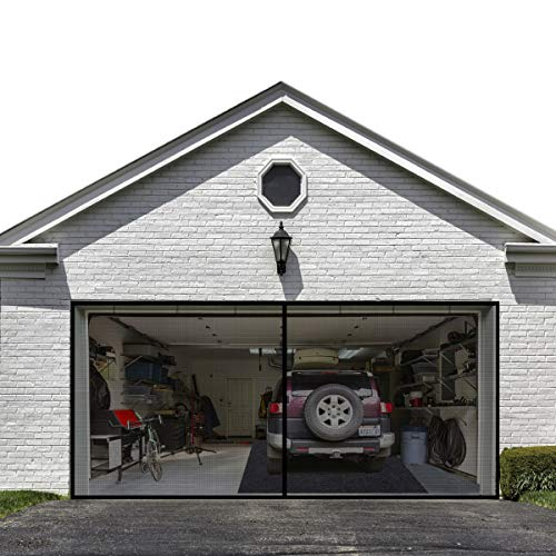 Garage Door Screen for 2 Car 16x7FT Garage Doors ,Heavy Duty Upgrade Glass Fiber Door Screen Curtain for Garage Door,Hands Free Magnetic Screen Door (6 Strapping Tapes Include)