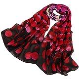 LMVERNA Women's polka dot scarf Flowers Birds Printed Scarf long wrap scarfs (Pink+Black)