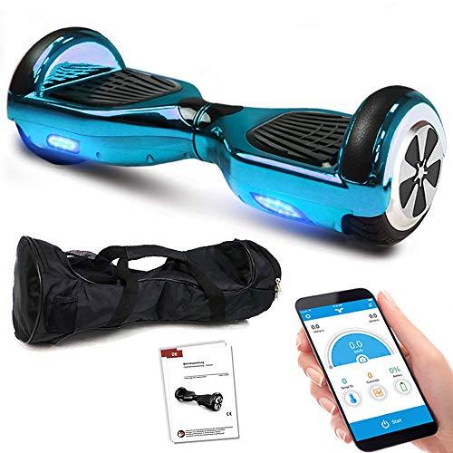 Balance Scooter 6,5 Zoll 600W-Motion V.5 mit App Funktion, Bluetooth Lautsprecher, Kinder Sicherheitsmodus, Elektro Self Balance E-Scooter, 600 Watt (BlauChrome)