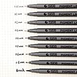 MALATA Artist Marker Black Sketch Pigment Fine Liner Pen Set para diferentes anchos de dibujo Suministros de arte de diseño de firma, 0.3