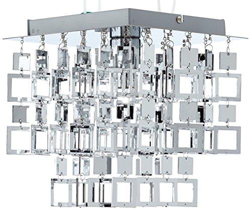 Reality Leuchten Deckenleuchte Deckenlampe, Acrylbehang in chrom, excl 1 x E27 maximum 60 W, 24 x 24 x 26 cm, (LxBxH) R61441106