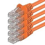 1m - Naranja - 5 Piezas - Cable de Red Ethernet con Conectores RJ45 CAT6 Cat 6 Cat.6 1000 Mbit/s