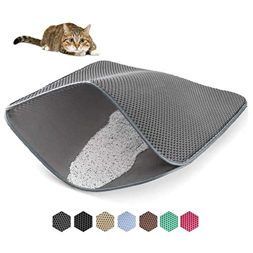 WePet Cat Litter Mat, Kitty Litter Trapping Mat - Large Size, Honeycomb Double Layer Mats, No Phthalate, Urine Waterproof, Easy Clean, Scatter Control, Litter Box Rug Carpet 30x25 Inch Light Grey
