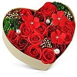 バラ型ソープフラワー ハートフラワー形状ギフトボックス 母の日 誕生日 記念日 先生の日 バレンタインデー 昇進 転居など最適としてのプレゼント