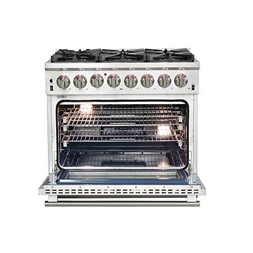 36″ Capriasca Dual Fuel Gas Range with 240 Volt Electric Oven FORNO Pro Style 6 DEFENDI Italian...