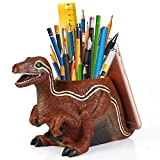 Dinosaur Pencil Holder With Phone Holder Desk Organizer Desktop Mobile Phone Bracket Pen Pencil Stand Storage Pot Holder Container Stationery Box Organizer (Velociraptor)