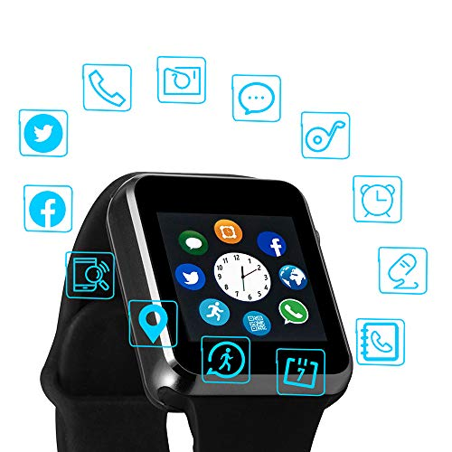 Smart Watch Color Touch Screen Bluetooth Smart Watch Sports Smart Watch TF/SIM Card Slot Smart Watch Multi Function Smart Watch Compatible with Samsung Android iPhone iOS Kids Women Men (Black)