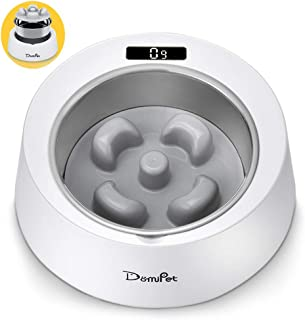Domipet 2 in 1 Slow Feed Dog Cat Bowl, Pet Slow Feeder with Stainless Steel Bowl, Smart Weighing Interactive Puzzle Anti-Slip Food Bowl for Small Medium Large Dogs Cats