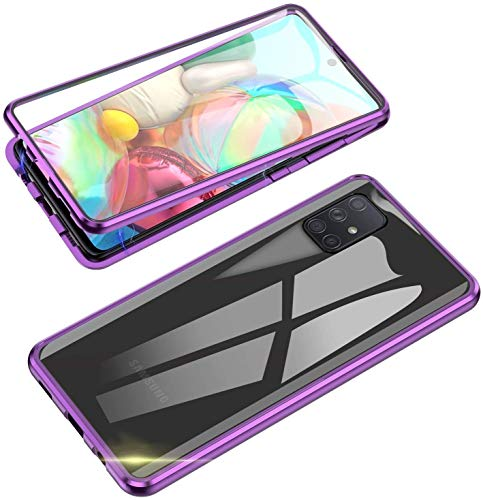 LIUKM Funda para Samsung Galaxy A72 5G Magnetica Adsorption Carcasa 360 Grados Protección Metal Choque Frente y Parte Posterior Vidrio Templado(Púrpura)