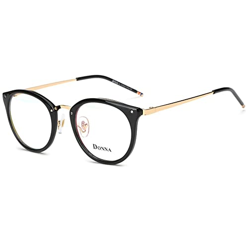 b1a48fa7fb78 DONNA Stylish Clear Lens Frame Glasses Samll Circle Blue Light Blocking for  Computer DN08