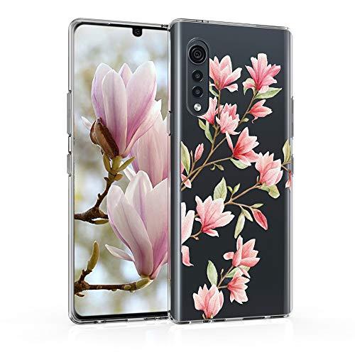 kwmobile Case kompatibel mit LG Velvet - Hülle Silikon transparent Magnolien Rosa Weiß Transparent
