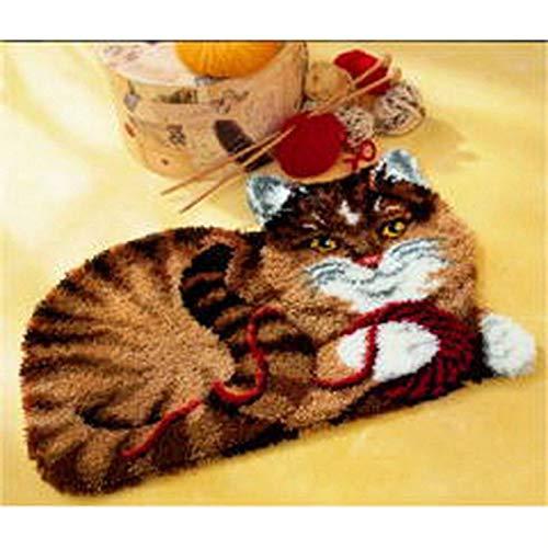 SxLingerie Kit Tappeto Gancio Fermo Set da Ricamo Fai-da-Te Stampato con Modello Animale Tappeto all'Uncinetto Artigianale per Bambini attività Domestica per Adulti 52X38 cm,Cat