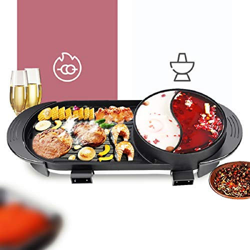 Tinsay Electric Grill Hot Pot, 2 in 1 Multifunctional Electric Dual Temperature Control Hot Pot Barbecue Grill with Divider Capacity for 2-12 People