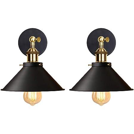 iDEGU Lot de 2 Applique Murale Industrielle Lampe de Plafond de Style Edison Métal Plafonnier Rétro avec Rotation à 180 Degrés - 220mm, Noir (sans ampoules)