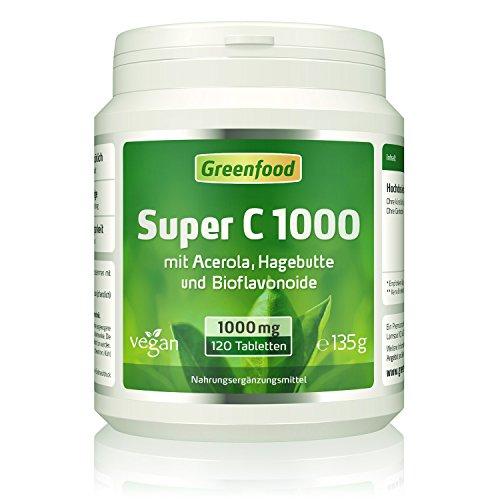 Super C, 1000 mg Vitamin C, hochdosiert, 120 Tabletten, vegan – mit Acerola, Hagebutte und Bioflavonoiden. Für ein bärenstarkes Immunsystem. Schützt die Zellen vor vorzeitiger Alterung. OHNE künstliche Zusätze. Ohne Gentechnik. Vegan.