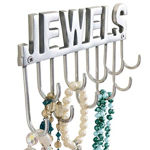 Pureday Schmuckhalter Wandhaken mit Schriftzug Jewels für Ketten & Schmuck, Metall, ca. B20 x T4 x H12 cm