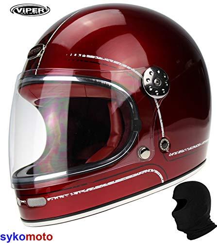 Burgundy Casco Moto Integrale Viper F656 Vintage Stile Casco in Fibra di Vetro Classic Full Face Retro Custom Chopper Bobber ECE Omologato
