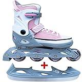 Cox Swain Sneak Kinder Inline Skates & Kinder Schlittschuh 2 in 1 - größenverstellbar ABEC5, Pink, XS (29-32)