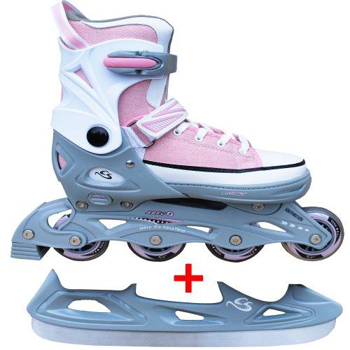 Cox Swain Sneak Kinder Inline Skates & Kinder Schlittschuh 2 in 1 - größenverstellbar ABEC5, Pink, S (33-36)
