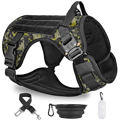 PAWDAY Tactical Dog Harness & No Pulling Front Leash Clip for Large Medium Dogs, Adjustable Dog Vest Harness for Training Hunting Walking & with Poop Bags Dispenser, Pet Bowl, Pet Car Seat Belt Leads