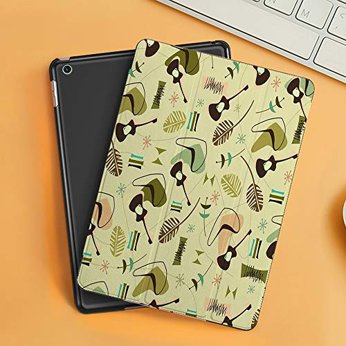Case for iPad Air 10.2(2019/2018),Red 1950S Retro Bark Guitars Pattern Yellow Atomic Modern Music 1960S 1970S 50S,Cover with Auto Sleep Wake Feature, Slim Lightweight Stand Protective Case