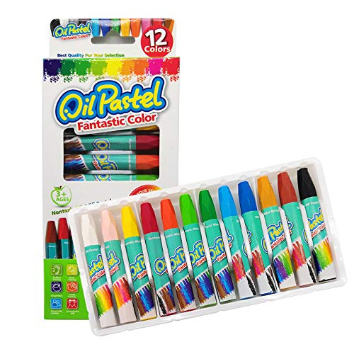 Soft Oil Pastels,12 Color Oil Pastels Set for Kids, Crayons for Children Student, Oil Pastels for Kids Indoor Activities, Art School Supplies