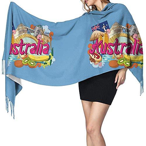 H.D. Australia Women'S - Bufanda de invierno de cachemira larga y suave