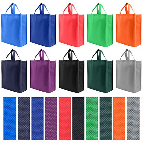 Reusable Grocery Tote Bag Large 10 Pack - 10 Color Variety