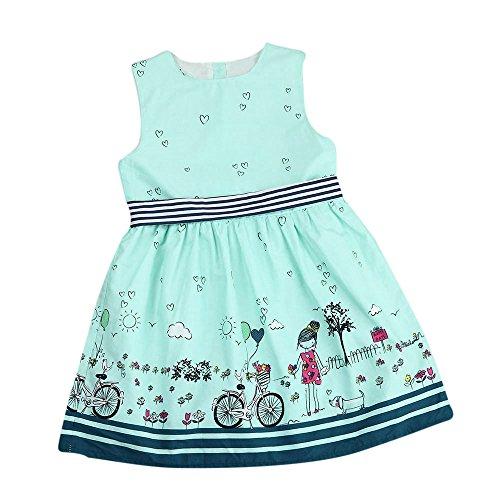 Vovotrade® Kids Baby Dress Girls Toddler Enfants Robe De Bébé Filles Rose Sans Manches Party Princess Pageant Dresses (Green, 7T)
