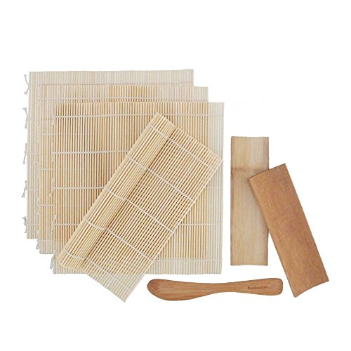 BambooMN 4x Natural Bamboo Sushi Rolling Mats, 2x Bamboo Sushi Plates and Spreader Set