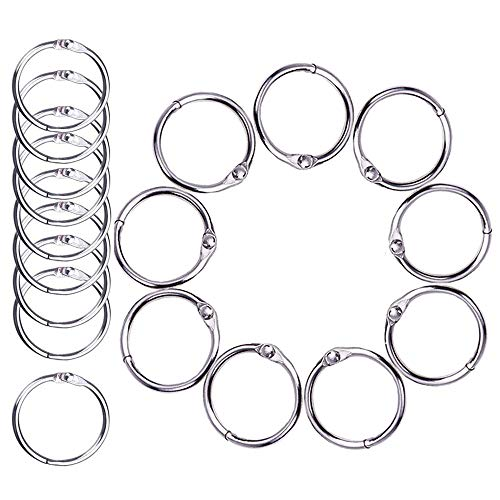 Uhat 50Pcs Book Loose Leaf Binder Rings 1.4 Inch/35mm Key Keychain Rings, Silver Index Card Ring