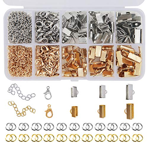EuTengHao 440Pcs Ribbon Bracelet Kit Bookmark Pinch Crimp Ends Jewelry Findings Supplies Includes Ribbon Ends Crimps Lobster Clasps Open Jump Rings and Chain Extenders (Gold and Silver)