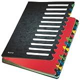 Leitz Pultordner, A4, 24 Fächer, Farbige Trennblätter, 3 Sichtlöcher, Karton, Schwarz, 59140095