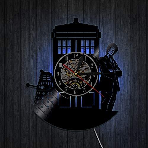 BFMBCHDJ Doctor Strange Vinyl Schallplattenuhr Kreative Retro Nostalgic Home Decoration Uhr Wanduhr A2 Mit LED 12 Zoll