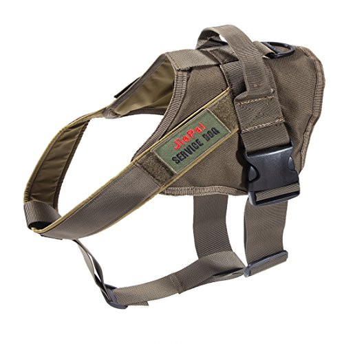JiePai Tactical Dog Harness Military Training Patrol K9 Service Dog Vest Adjustable Working Dog Vest with Handle for Small Large Dogs (Ranger Green,S)
