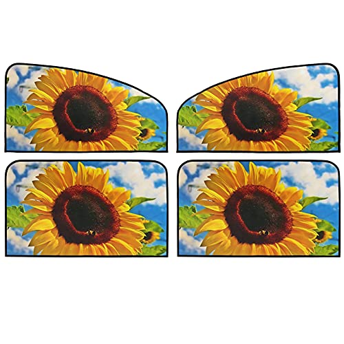 Car Side Window Sun Shade 4 Pack Sunflowers Sky Sunshade Cover Fit for Auto UV Rays Blocker Sun Visor Shield Protector Travel Trucks Windshield Curtain