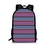 JINGS School Bags Geometric,Vintage Colorful Abstract Diamond Line Pattern Psychedelic Sixties Inspired Decorative,Blue Pink Black for Boys&Girls Mens Sport Mochila