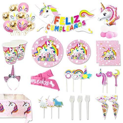 Kit de Artículos para Fiesta Cumpleaños Infantil Unicornio -  Vajilla Desechable Rosa, Decoración y Accesorios Completa, 148 Piezas -  16 Invitados