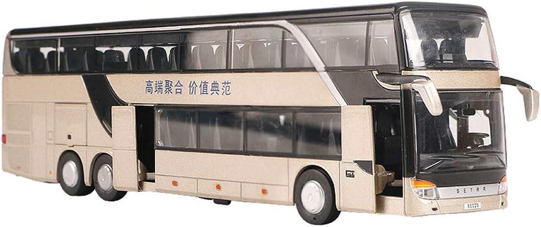 el mas reciente Tradtrust 1 32 de Aleación Doble Bus Bus de de de Capa Doble Modelo Vista Nocturna Linda Muere Juguete Fundido  la red entera más baja