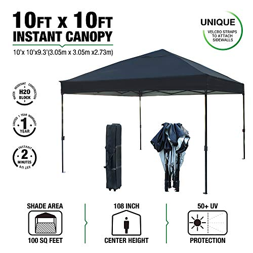 kdgarden 10 x 10 Ft. Outdoor Pop Up Waterproof Canopy with 300D Top, Portable Silver Coated UV Canopy Tent for Outdoor Use, Easy Up Tent with Roller Bag, Black